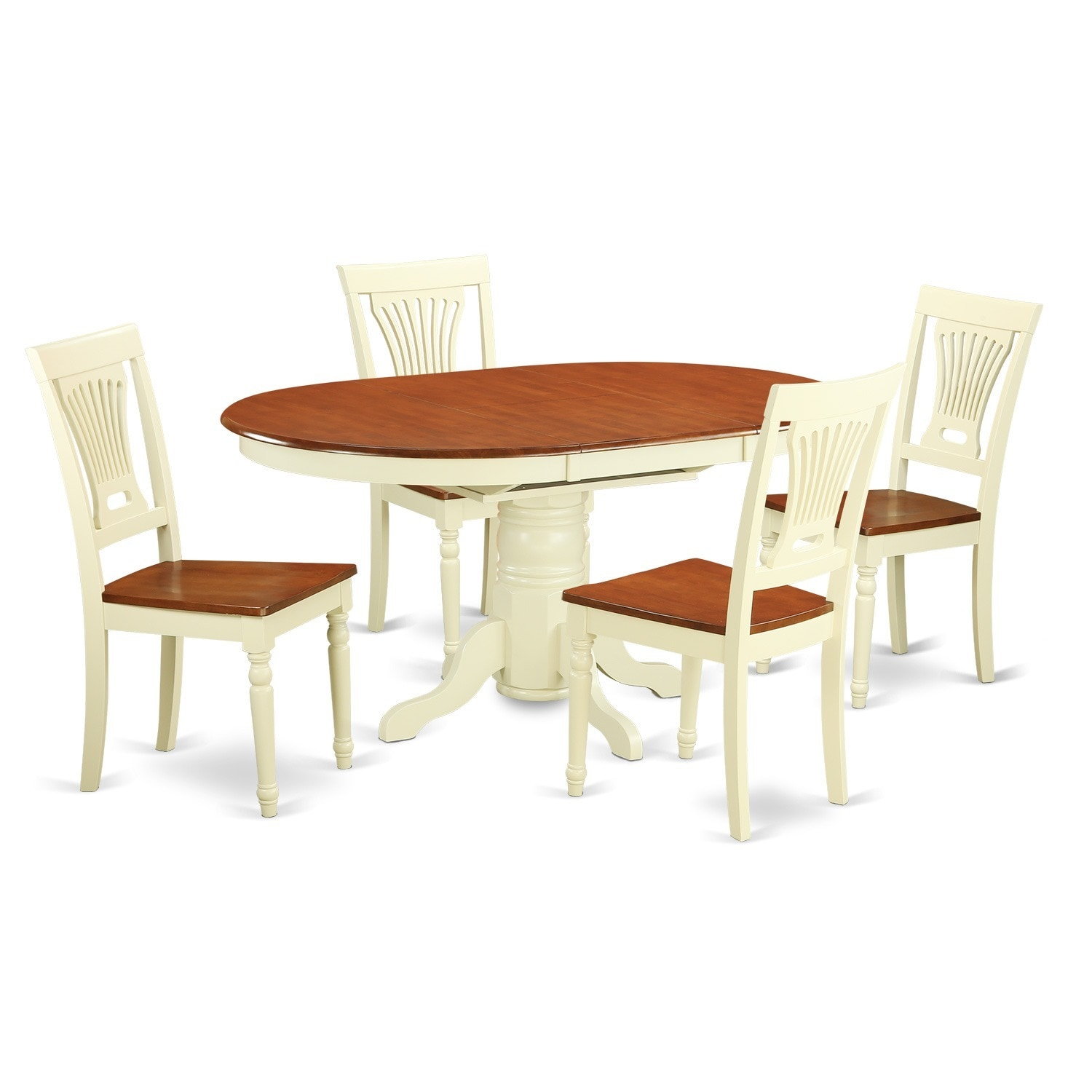 5-piece Oval Dinette Table with Leaf and 4 Dining Chairs ...