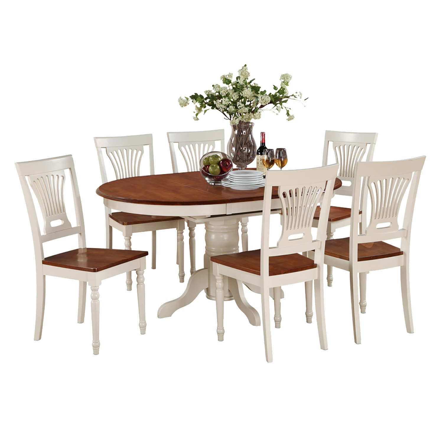 7-piece Oval Table with Leaf and 6 Dining Chairs (Butterm...