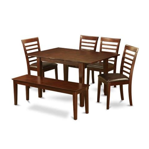 6-piece Small Table and 4 Kitchen Chairs and Dining Bench