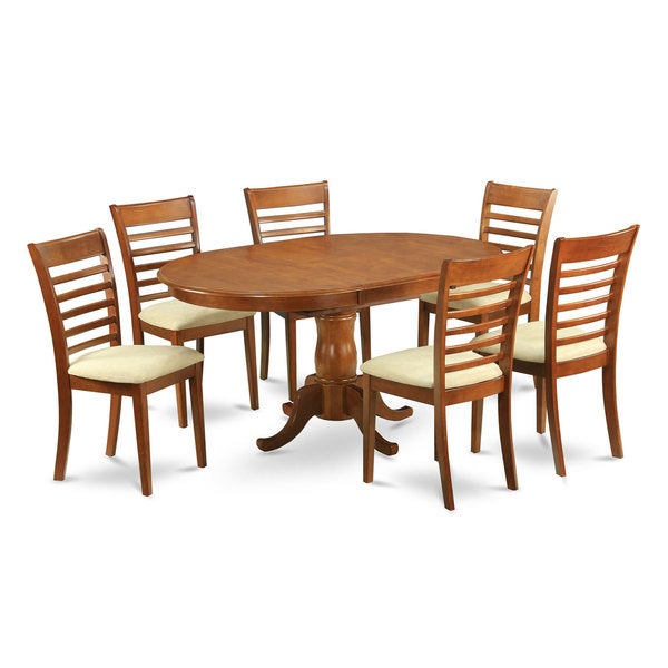Piece Oval Dining Table With Leaf With 6 Dining Chairs Free