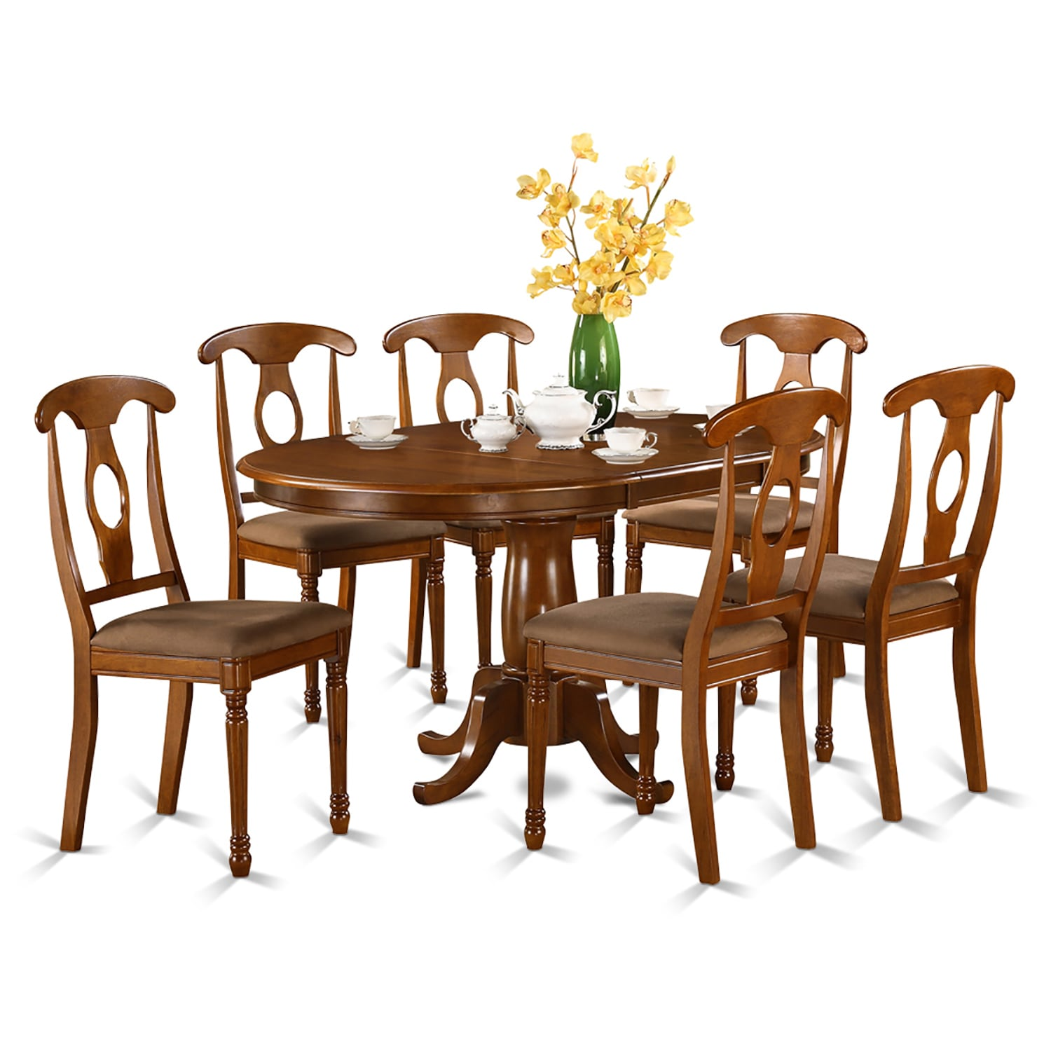 7-piece and Oval Dining Table with Leaf and 6 Dining Chai...