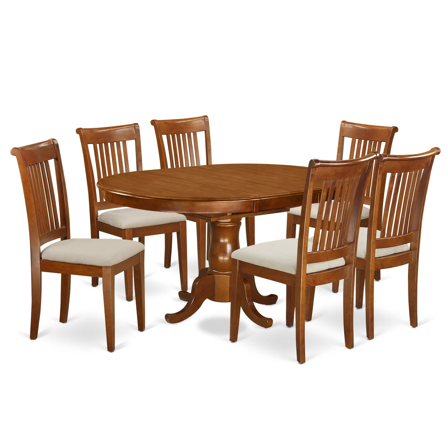 Oval Dining Room Table Sets: 7-piece Oval Dining Table With Leaf And 6 Dining Chairs
