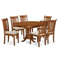 7-piece Oval Dining Table with Leaf and 6 Dining Chairs