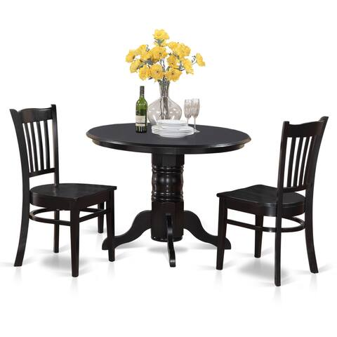 3-piece Small Round Table and 2 Kitchen Chairs