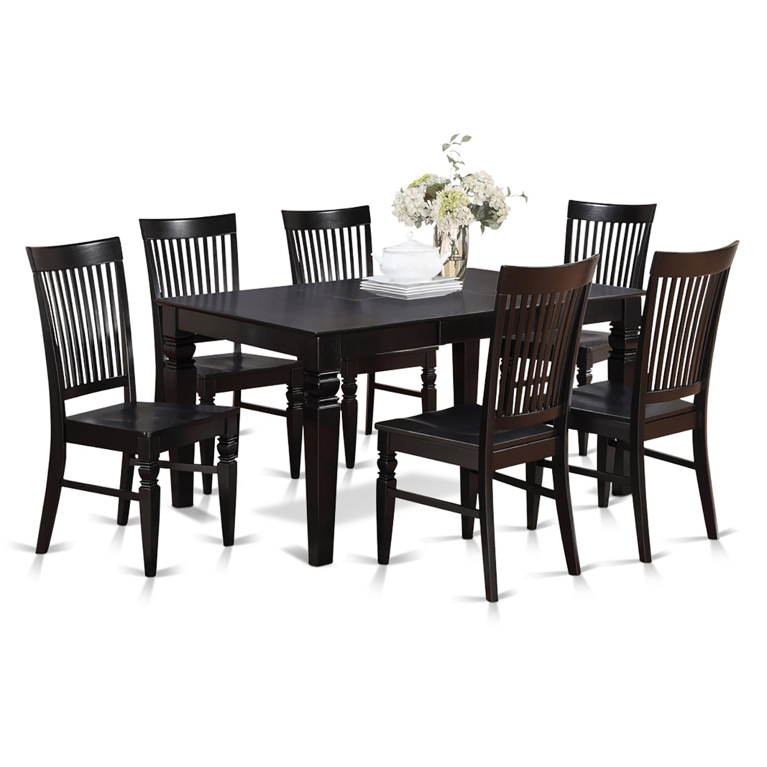 7 Piece Dining Table And 6 Dining Chairs Black