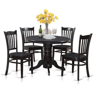 Black Round Kitchen Table and 4 Dinette Chairs 5 piece