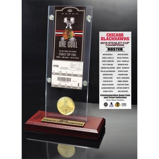 Chicago Blackhawks 2015 Stanley Cup Champions Ticket and Bronze Coin Acrylic Desk Top