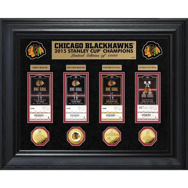 Chicago Blackhawks 2015 Stanley Cup Champions Deluxe Gold Coin and Ticket Collection