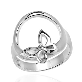 Butterfly Kiss Open Circle .925 Sterling Silver Ring (Thailand)