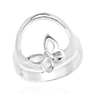 Handmade Butterfly Kiss Open Circle .925 Sterling Silver Ring (Thailand)