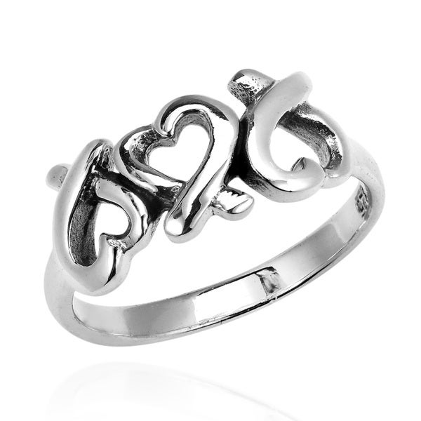 2ee79102f19a7 Shop Handmade Promise of Love Triple Heart .925 Sterling Silver Ring ...