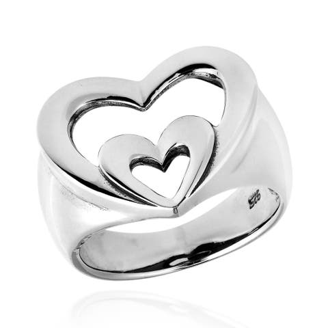 Handmade Vow of Love Double Heart Sterling Silver Ring (Thailand)
