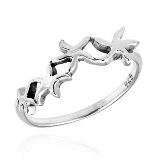 Handmade Charming Linked Starfish .925 Sterling Silver Ring (Thailand)