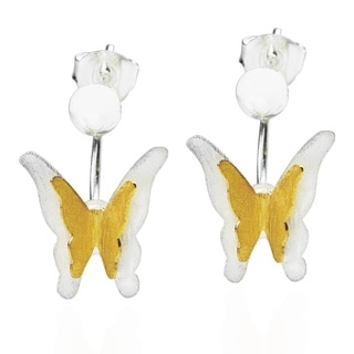 Dancing Butterfly 18k Gold Overlay 925 Silver Earrings (Thailand)