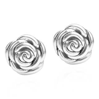 Gorgeous Rose .925 Sterling Silver Post Earrings (Thailand)
