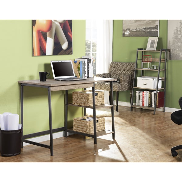 Homestar 2 Piece Laptop Desk And 4 Shelf Bookcase Set In Reclaimed Wood