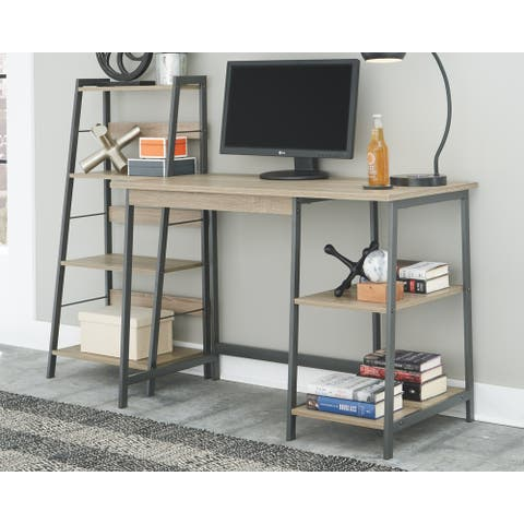 Soho Casual Home Office Desk and Shelf, Brown/Black