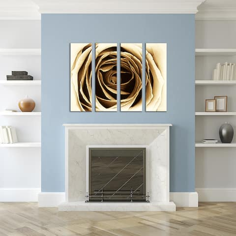 Petal Abstract' 4-Piece Wrapped Canvas Wall Art Set