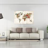Old world map painting on canvas free shipping today overstock dorothea taylor well traveled world map 28x42 canvas gumiabroncs Images