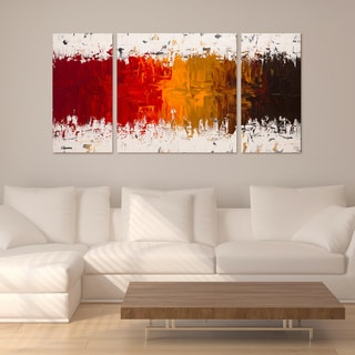 Carmen Guedez 'Luminescence' 30x60 Triptych Canvas Wall Art
