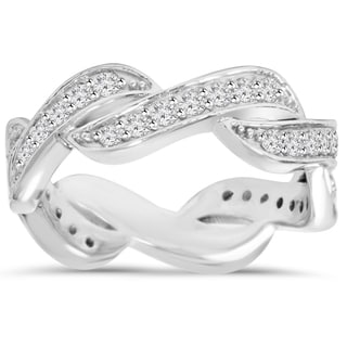 14k White Gold 2/3 ct TDW Diamond Infinity Anniversary Ring