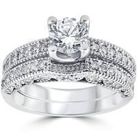 14k White Gold 1 1/10 ct TDW Vintage Pave Diamond Matching Wedding Ring Set