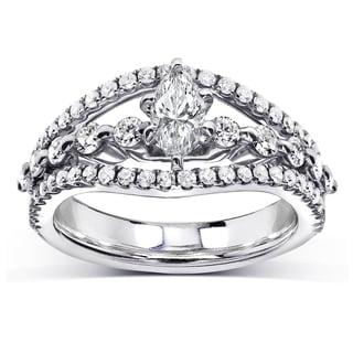 Annello by Kobelli 14k White Gold 1ct TDW Marquise Diamond Split Shank Engagement Ring