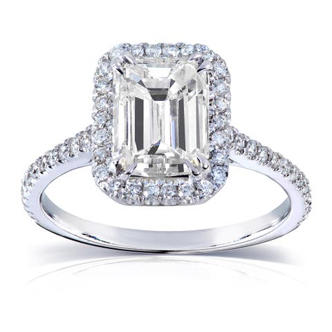 Annello by Kobelli 14k White Gold 2ct TGW Emerald-cut Moissanite and Diamond Engagement Ring