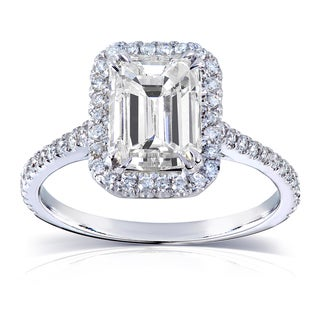 Link to Annello by Kobelli 14k White Gold 2ct TGW Emerald-cut Moissanite and Diamond Engagement Ring Similar Items in Rings