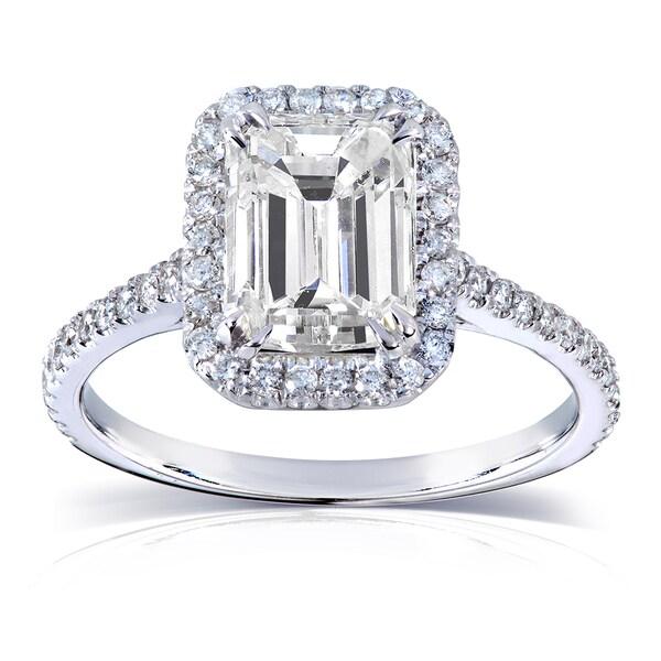 Annello by Kobelli 14k White Gold 2ct TGW Emerald-cut Moissanite (HI) and Diamond Engagement Ring