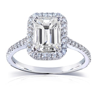 Annello 14k White Gold Emerald-cut Moissanite (HI) and 1/4 ct TDW Diamond Engagement Ring