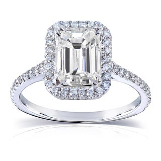 Annello 14k White Gold Emerald-cut Moissanite and 1/4 ct TDW Diamond Engagement Ring (G-H, I1-I2)