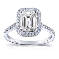 Annello by Kobelli 14k White Gold 2ct TGW Emerald-cut Moissanite (HI) and Diamond Engagement Ring