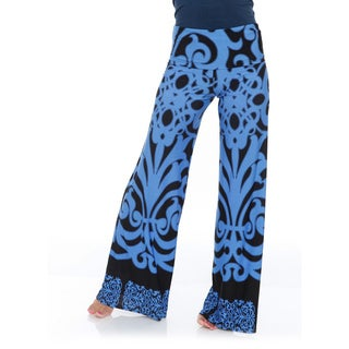 White Mark Women's Palazzo Pants (Blue)