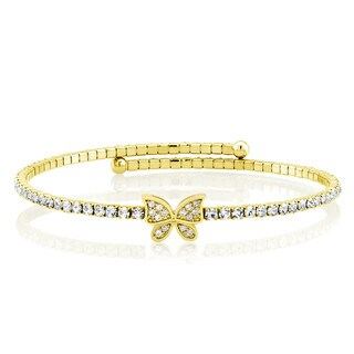 Goldplated Cubic Zirconia Butterfly Wrap Bangle