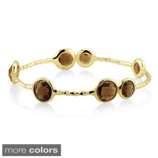Goldplated Smoky Quartz Hammered Bangle