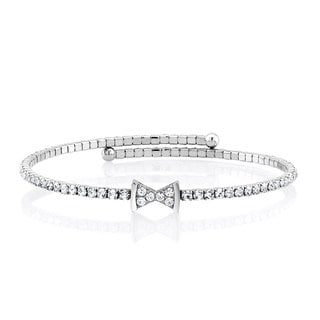 Silverplated Cubic Zirconia Bow-Tie Wrap Bangle