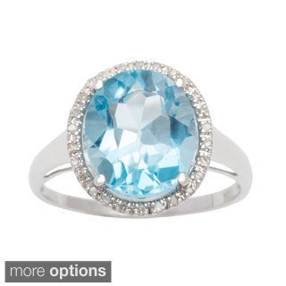 Viducci 10k Gold Genuine Blue Topaz and 1/6ct TDW Diamond Halo Ring (1/6 TDW)