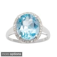 Viducci 10k Gold Genuine Blue Topaz and 1/6ct TDW Diamond Halo Ring (1/6 TDW)