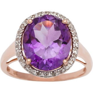 Viducci 10k Gold Oval Amethyst and 1/6ct TDW Diamond Halo Ring (G-H, I1-I2)