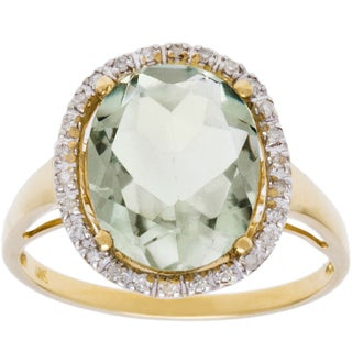 Viducci 10k Gold Genuine Green Amethyst and 1/6ct TDW Diamond Halo Ring (G-H, I1-I2)