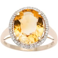 Viducci 10k Gold Citrine and 1/6ct TDW Diamond Halo Ring (G-H, I1-I2)