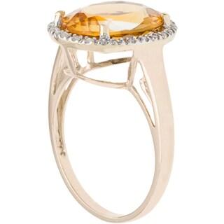Viducci 10k Gold Citrine and 1/6ct TDW Diamond Halo Ring (G-H, I1-I2)
