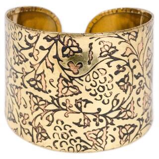 Handmade Ivy Wine Brass Cuff (India)