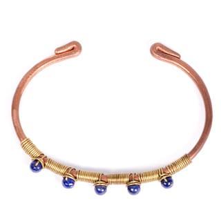 Handmade Blue Beaded Copper Bangle (India)