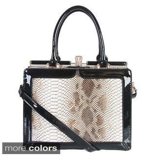 Rimen & Co. Snake Embossed Push Lock Handbag