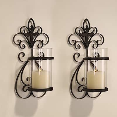 Adeco Iron and Glass Vertical Wall Hanging Candle Holder Sconce (Set of 2)