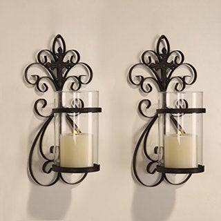 Link to Adeco Iron and Glass Vertical Wall Hanging Candle Holder Sconce (Set of 2) Similar Items in Decorative Accessories