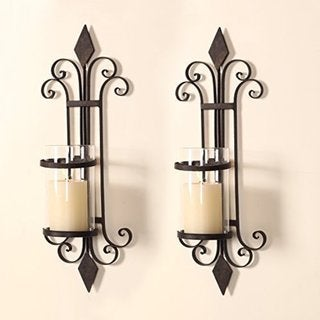 Adeco Iron and Glass Scroll and Diamond Design Single Pillar Vertical Wall Hanging Candle Holder Sconce (Set of 2)