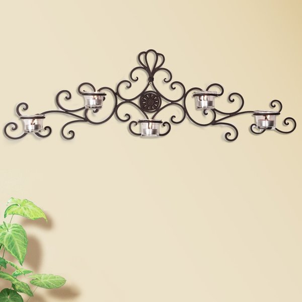 Wall Hanging Candle Holders adeco iron and glass horizontal 5-light wall hanging candle holder